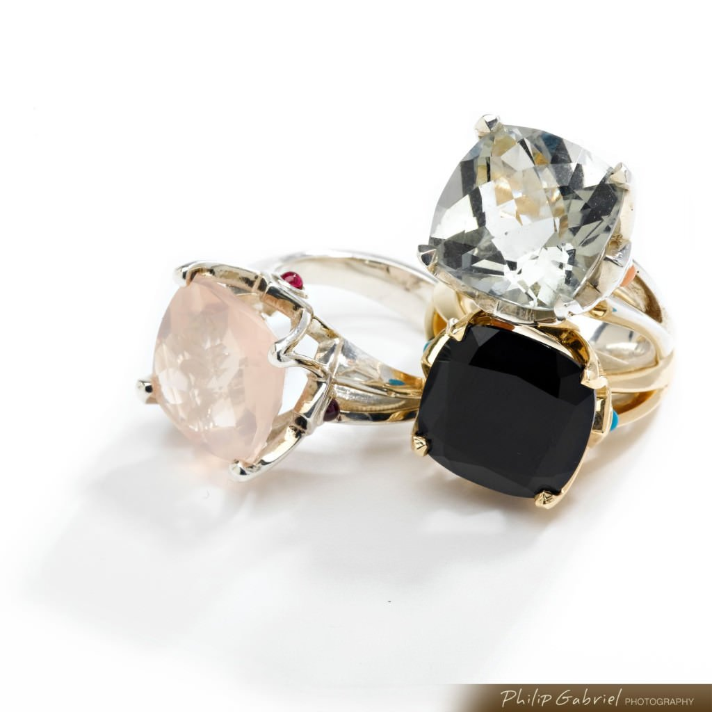 Product Jewelry Rings Rose Crystal Black Photographed by Philip Gabriel Photography