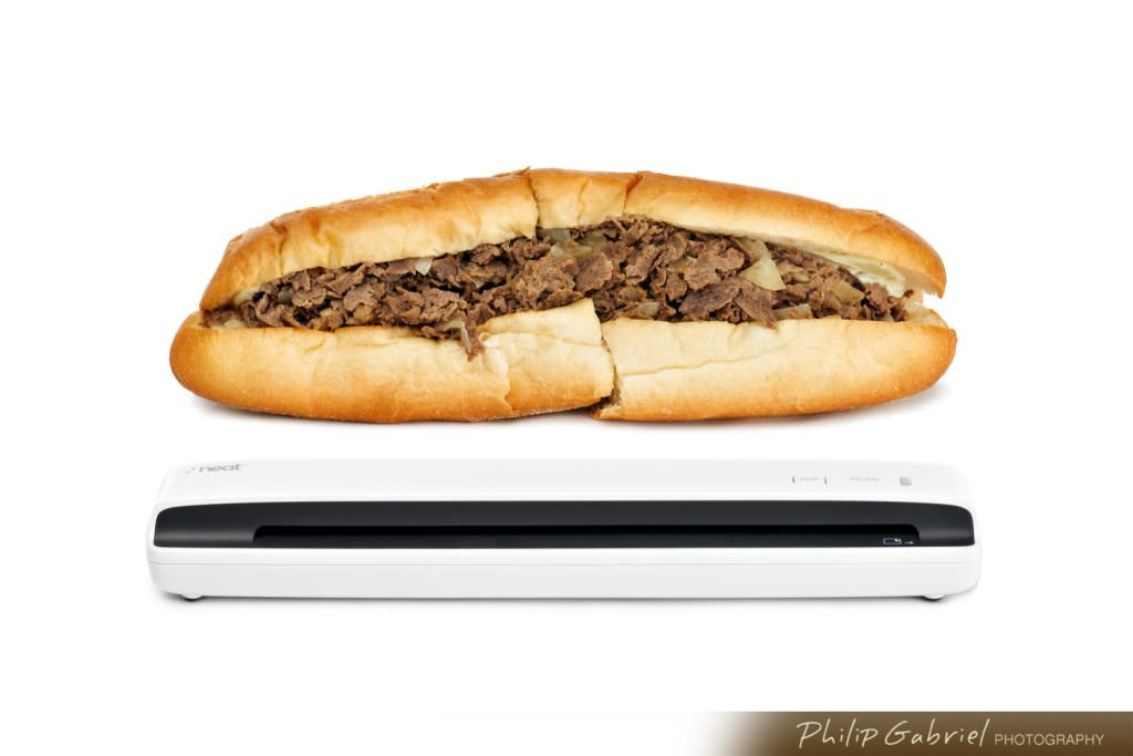 Products Cheesesteak with Neat Scanner advertising Photographed by Philip Gabriel Photography