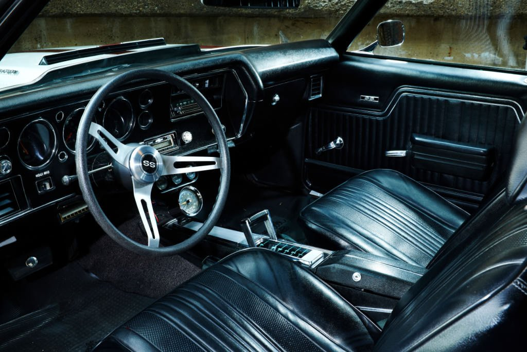 Classic Car Black leather interior Photographed by Philip Gabriel Photography