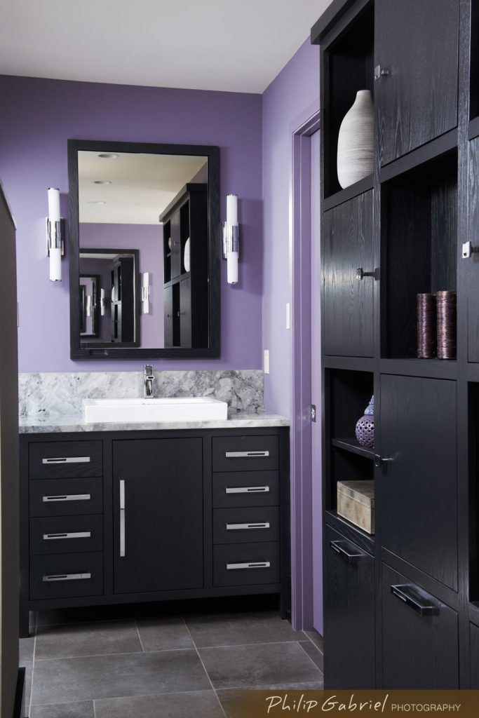 Architecture Interior Design Purple Bathroom Renovation Photographed by Philip Gabriel Photography