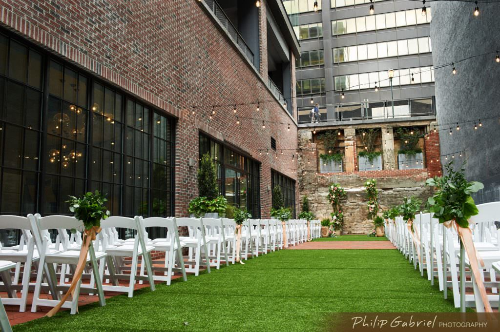 Architecture Exterior The Fitler Club Outdoor Wedding Ceremony Philadelphia Pennsylvania Photographed by Philip Gabriel Photography