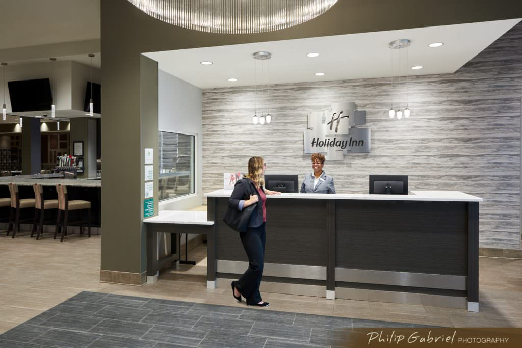 Architecture Interior The Holiday Inn Hotel Lobby Guest Checkin Drexelbrook Drexel Hill Pennsylvania Photographed by Philip Gabriel Photography