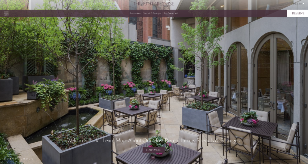 Architecture Exterior The Rittenhouse Hotel Outdoor Patio Dining Philadelphia Pennsylvania Photographed by Philip Gabriel Photography