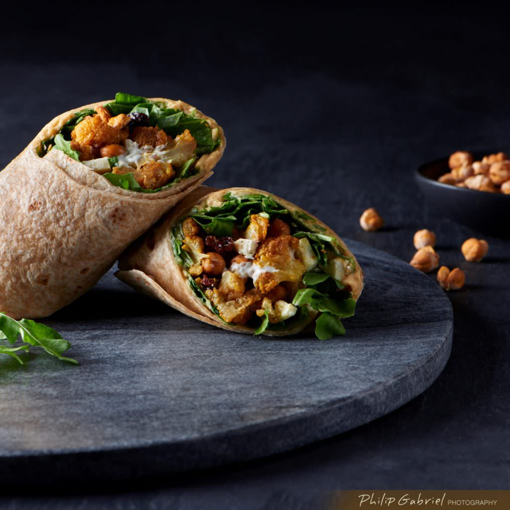 Food Dark Healthy Cauliflower Chick Pea Wrap Styled Photographed by Philip Gabriel Photography