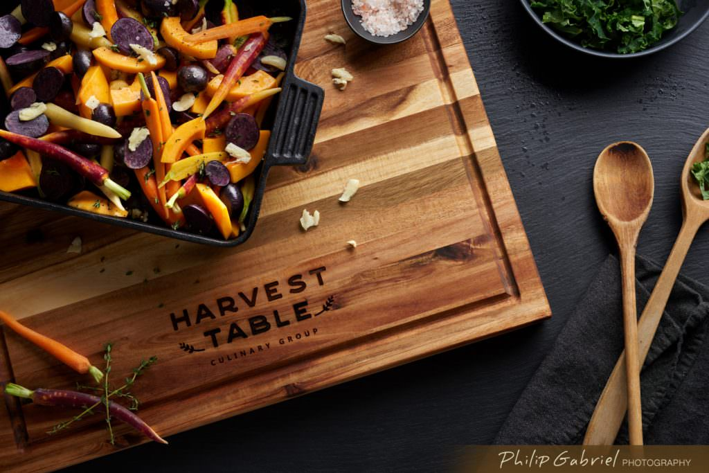 Food Harvest Table Dark Overhead Roasted Vegetables Styled Photographed by Philip Gabriel Photography