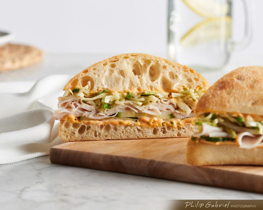 Food Light Ciabatta Sandwich on Marble Styled Photographed by Philip Gabriel Photography