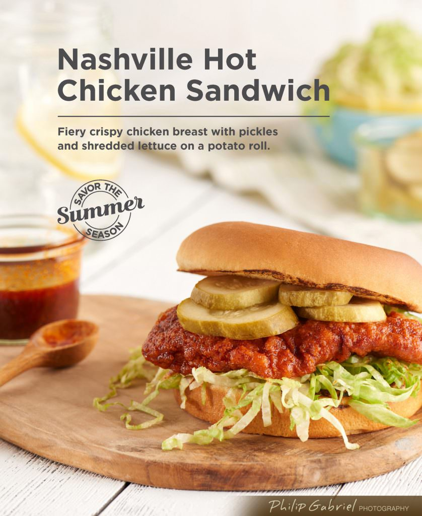 Food Summer Nashville Hot Chicken Sandwich Styled Photographed by Philip Gabriel Photography
