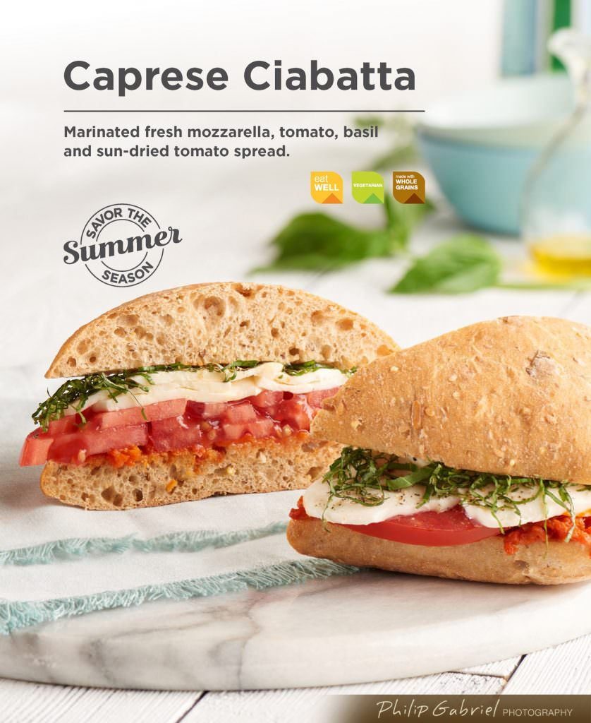 Food Summer Caprese Ciabatta Sandwich Styled Photographed by Philip Gabriel Photography
