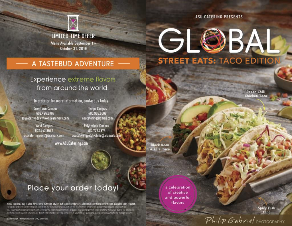 Overhead Tacos for Restaurant Menu Styled Photographed by Philip Gabriel Photography