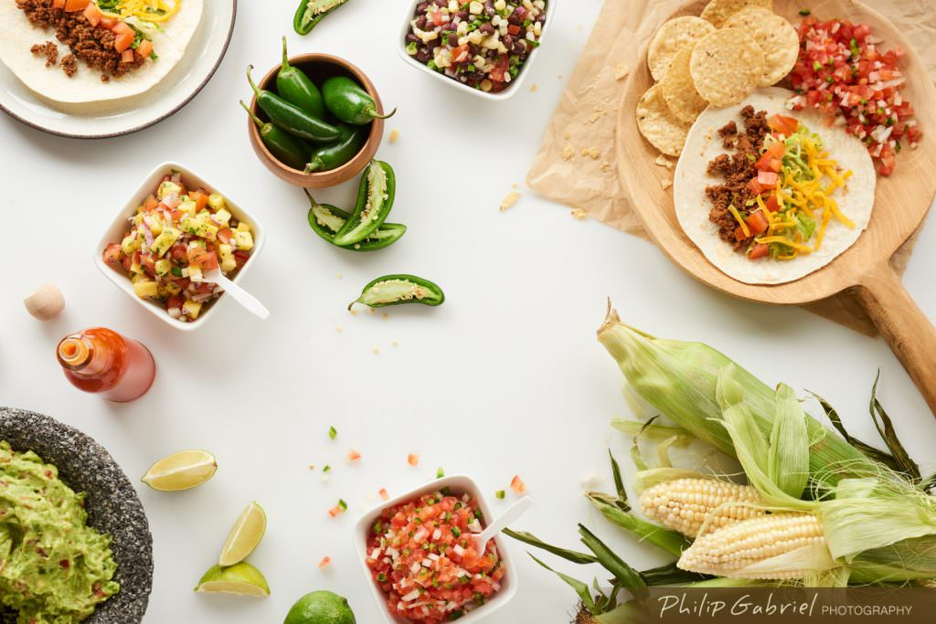 Food Overhead Tacos with Ingredients Styled Photographed by Philip Gabriel Photography