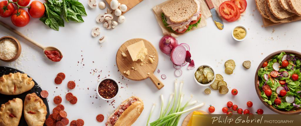 Food Overhead Ingredients Vegetables Meat Cheese for Sandwich Styled Photographed by Philip Gabriel Photography