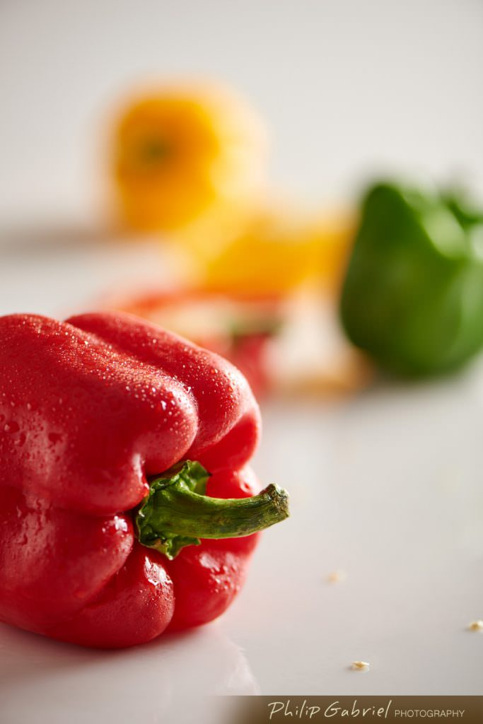 Fresh Food Red Yellow Green Peppers Detail Photographed by Philip Gabriel Photography