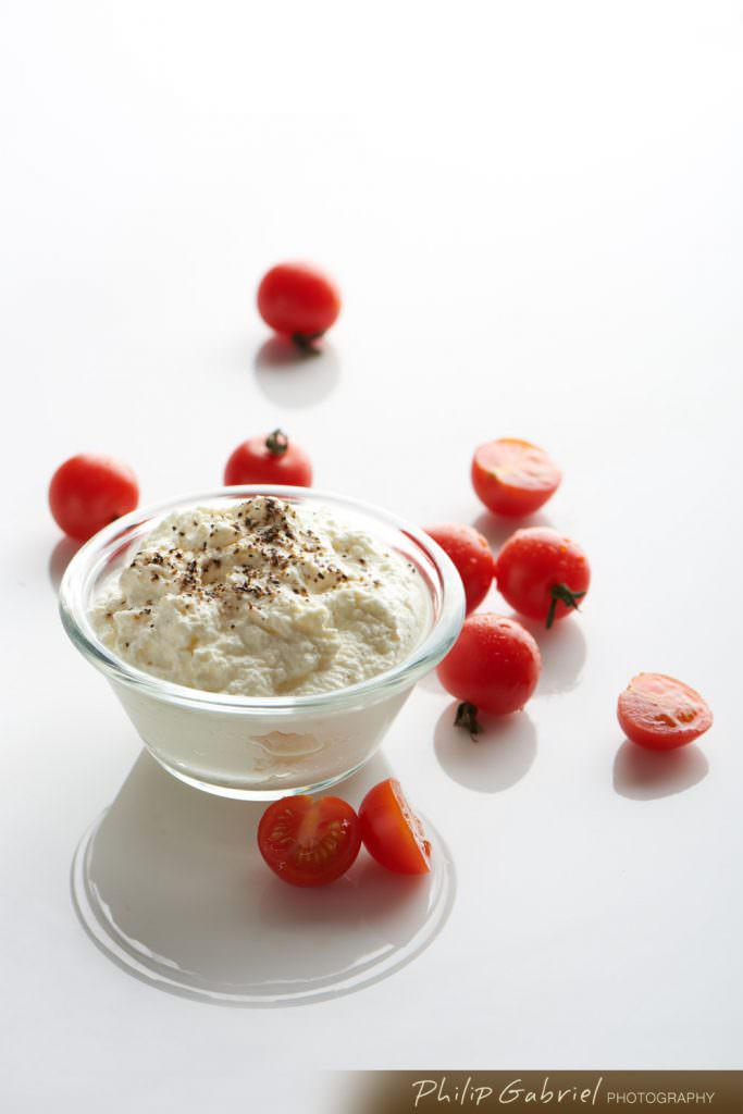 Food Cottage Cheese with Cherry Tomatoes Styled Photographed by Philip Gabriel Photography