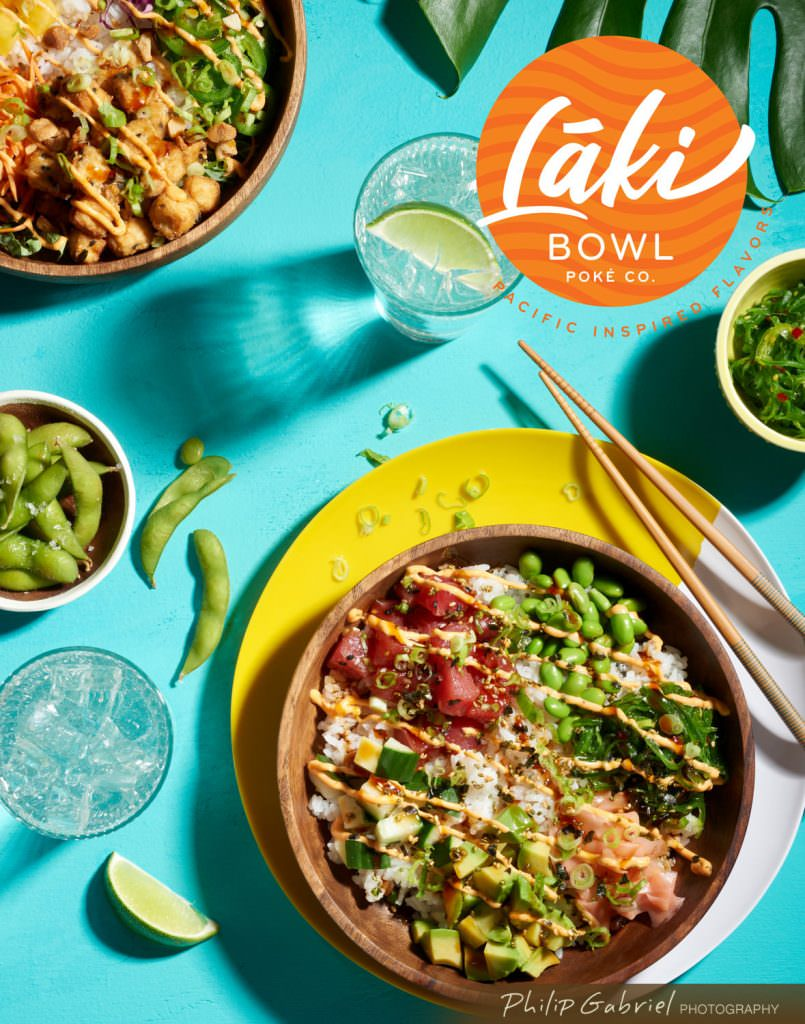 Food Laki Poke Bowl on Blue Surface Promotional Poster Styled Photographed by Philip Gabriel Photography