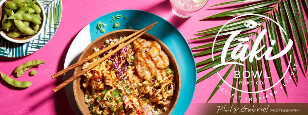 Food Laki Bright Pink Poke Bowl Overhead Styled Photographed by Philip Gabriel Photography