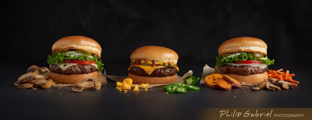 Food Bison Burgers for Kiosk Styled Photographed by Philip Gabriel Photography