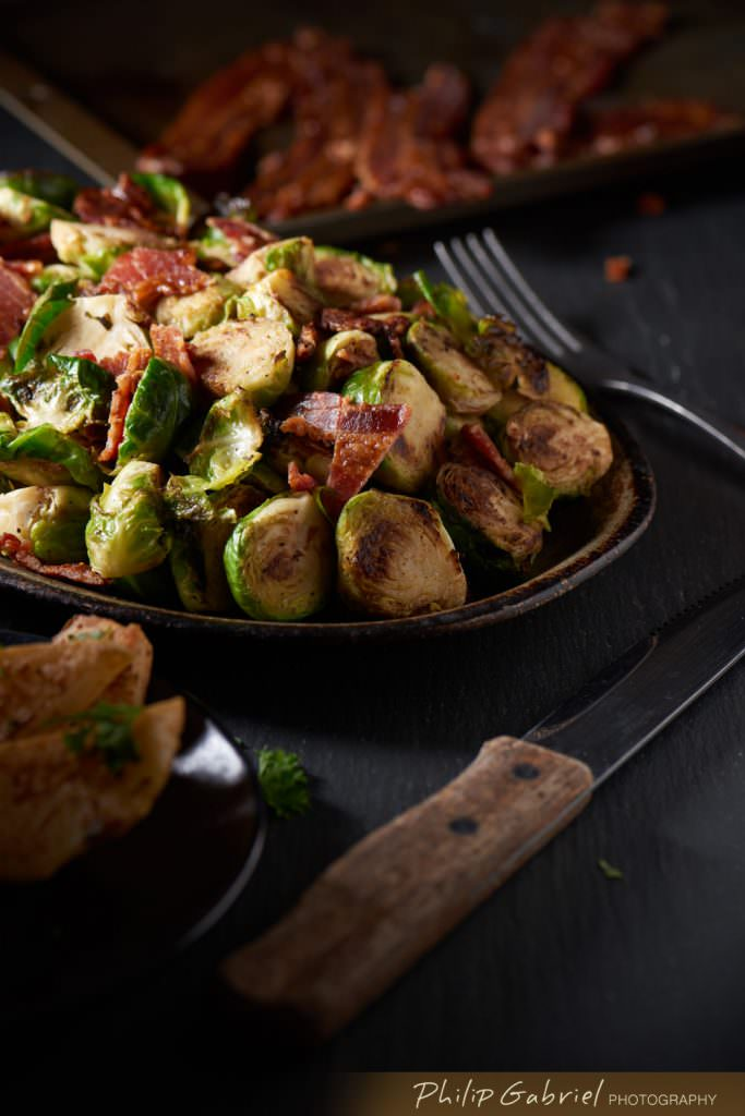 Food Bacon Brussels sprout side styled Photographed by Philip Gabriel Photography