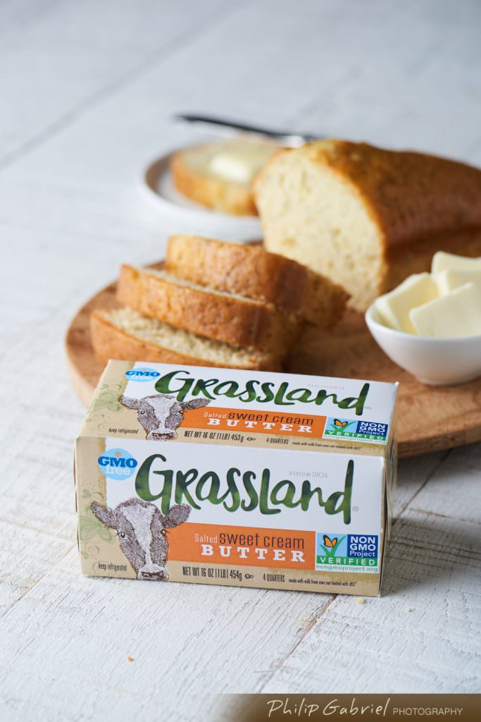 Grassland Butter with Bread Food Product Promotion Photographed by Philip Gabriel Photography