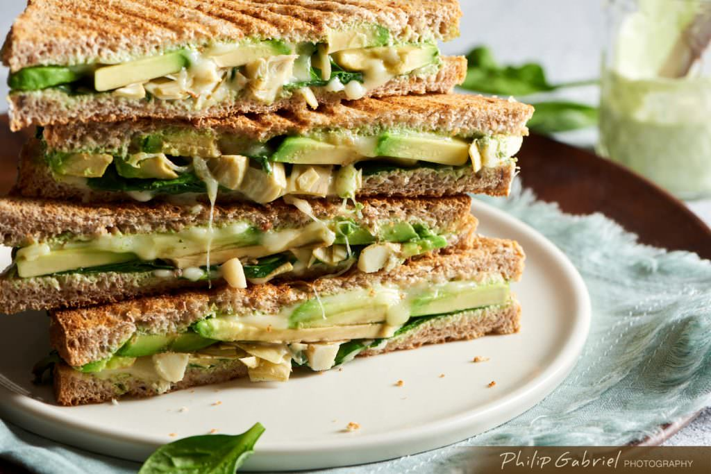 Food Avocado Artichoke Cheese Panini Stack styled Photographed by Philip Gabriel Photography