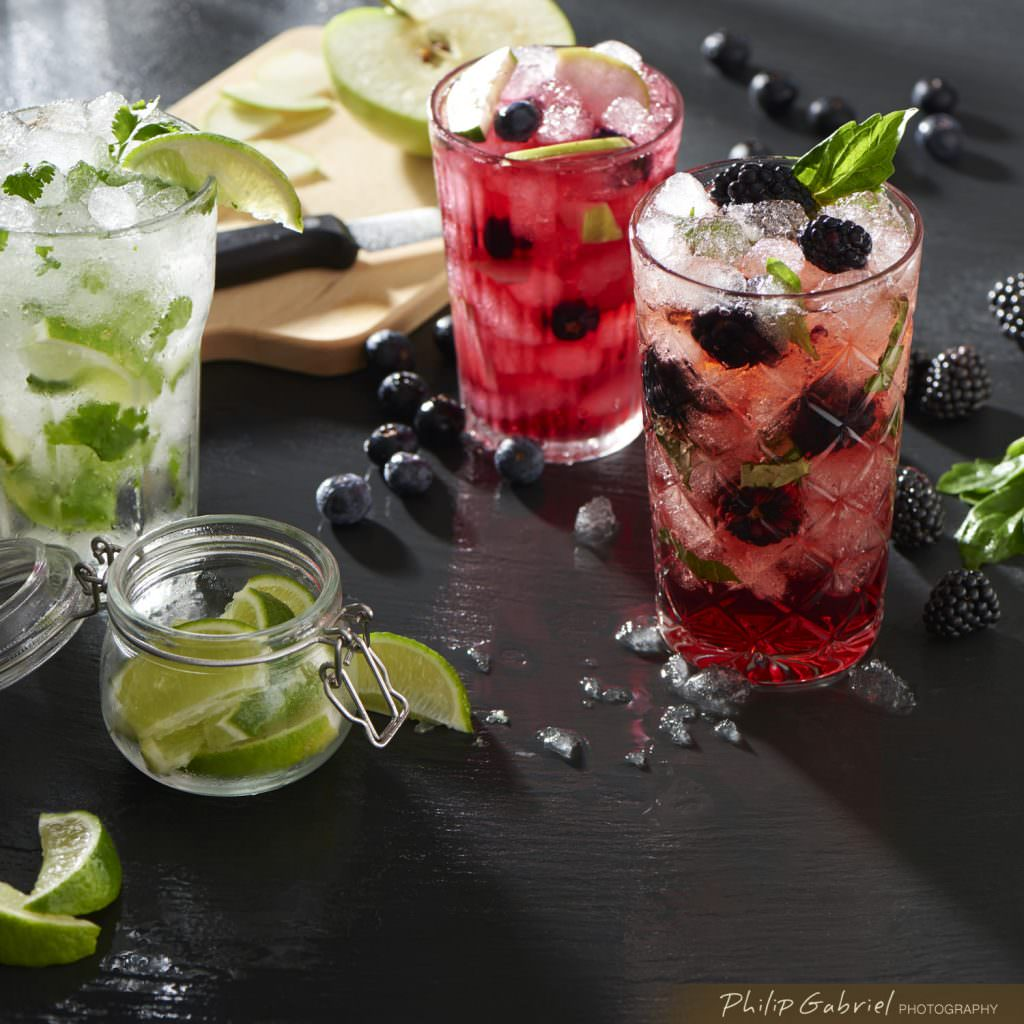 Refreshing Drinks over ice styled Photographed by Philip Gabriel Photography