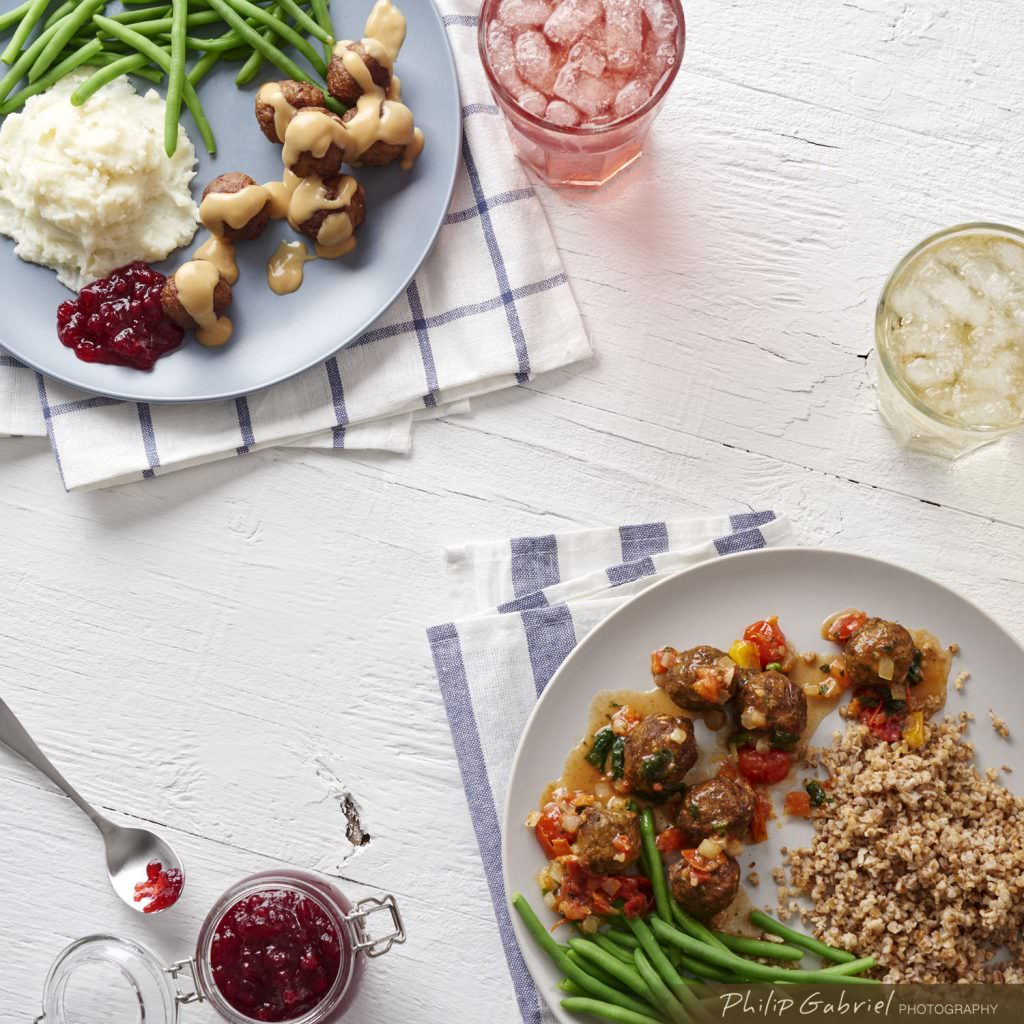 Food Overhead Swedish Meatball Dinner styled Photographed by Philip Gabriel Photography