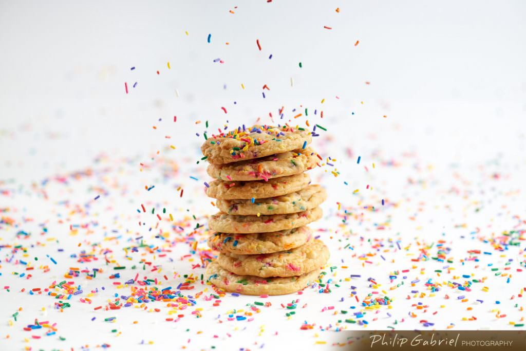 Stack Confetti Cookies with Rainbow Sprinkles Styled Photographed by Philip Gabriel Photography