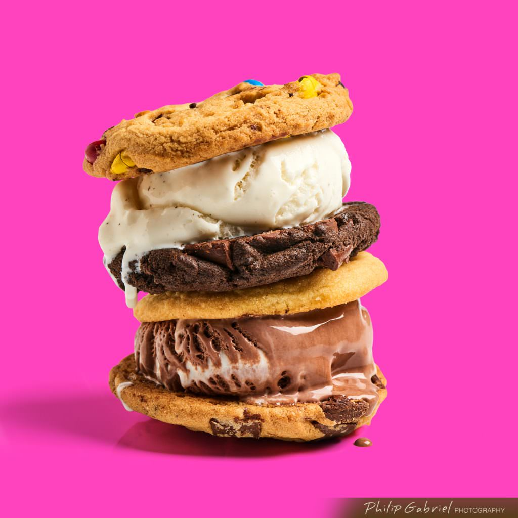 Dessert Stack of Ice Cream Sandwiches on Pink styled Photographed by Philip Gabriel Photography