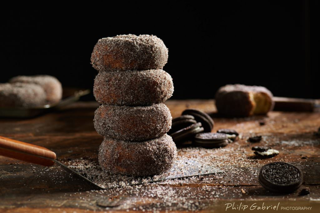 Stack of Oreo Sugar Donuts styled Photographed by Philip Gabriel Photography