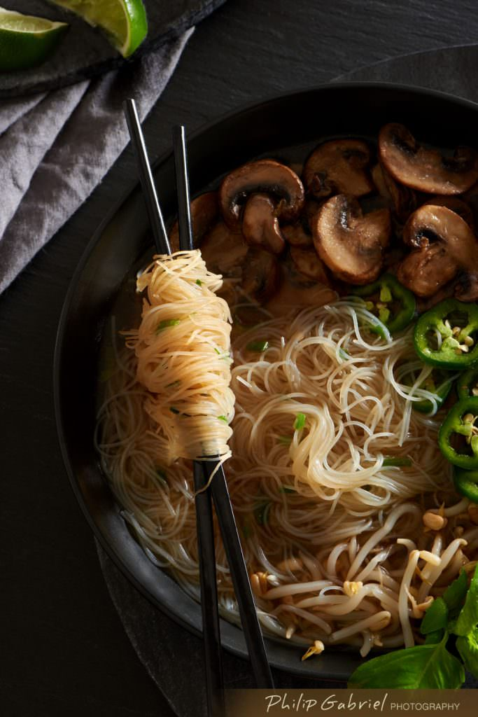 Food Asian Noodle Bowl overhead styled Photographed by Philip Gabriel Photography
