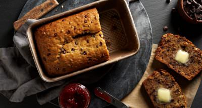 Food Chocolate Banana Bread Overhead Dark Styled Photographed by Philip Gabriel Photography