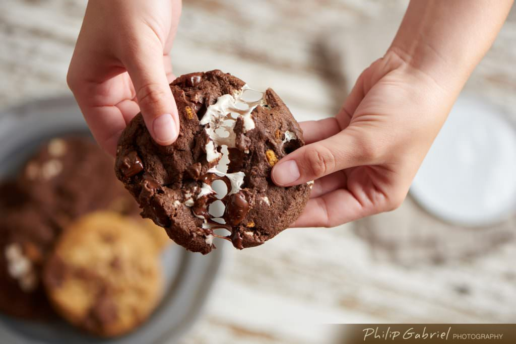 Smores Cookie with Marshmellows and Chocolate pulled apart styled Photographed by Philip Gabriel Photography
