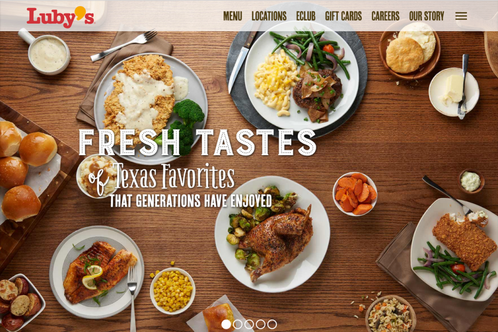 Food Luby's Texas Favorites Fresh Tastes Overhead Dinner Dishes for Website Promotional Styled Photographed by Philip Gabriel Photography