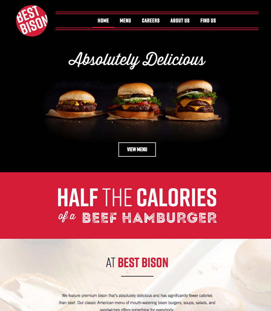 Restaurant Best Bison Burgers Website for Kiosk styled Photographed by Philip Gabriel Photography