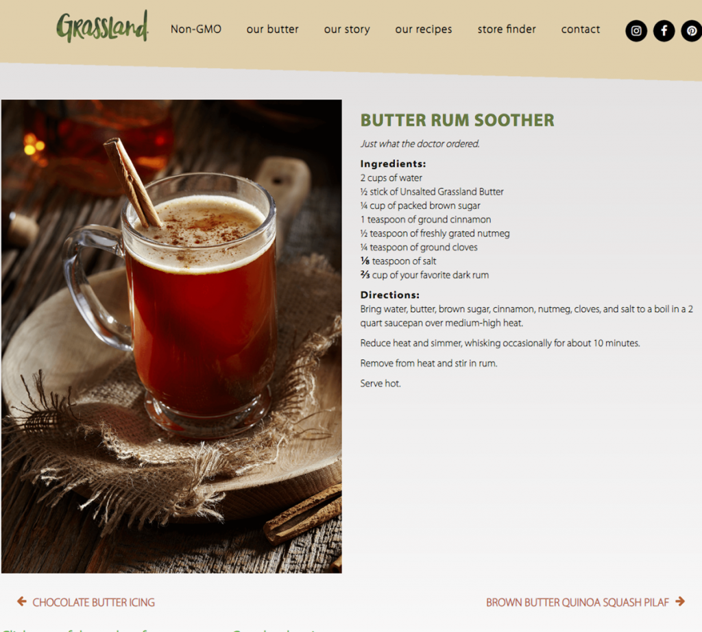 Drink Grassland Butter Rum Soother Recipe Website Photographed by Philip Gabriel Photography