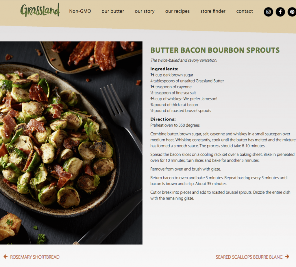 Grassland Butter Bacon Bourbon Sprouts Recipe for Website Styled Photographed by Philip Gabriel Photography