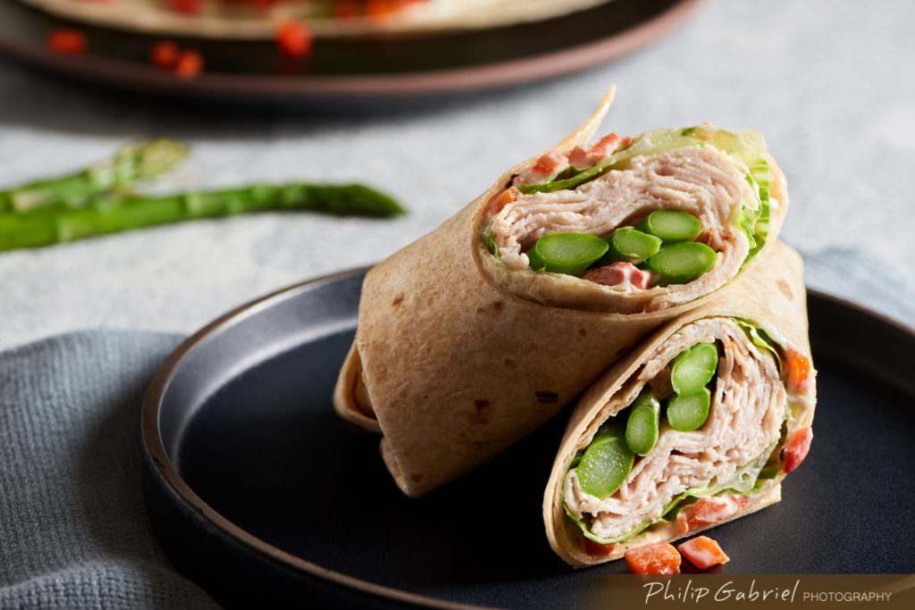 Food Turkey and Asparagus Wrap on Plate styled Photographed by Philip Gabriel Photography