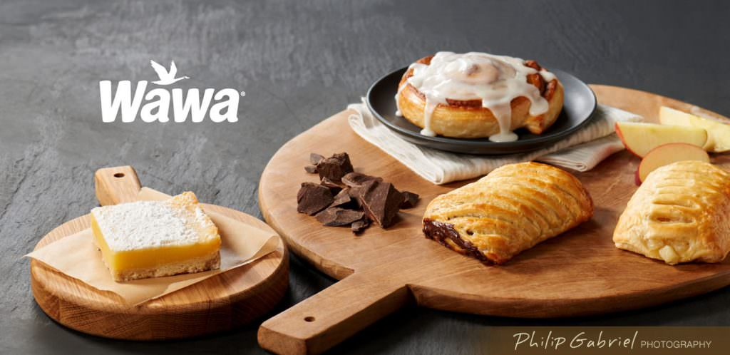 Wawa Food Pastries on Wood Promo Advertisement Styled Photographed by Philip Gabriel Photography