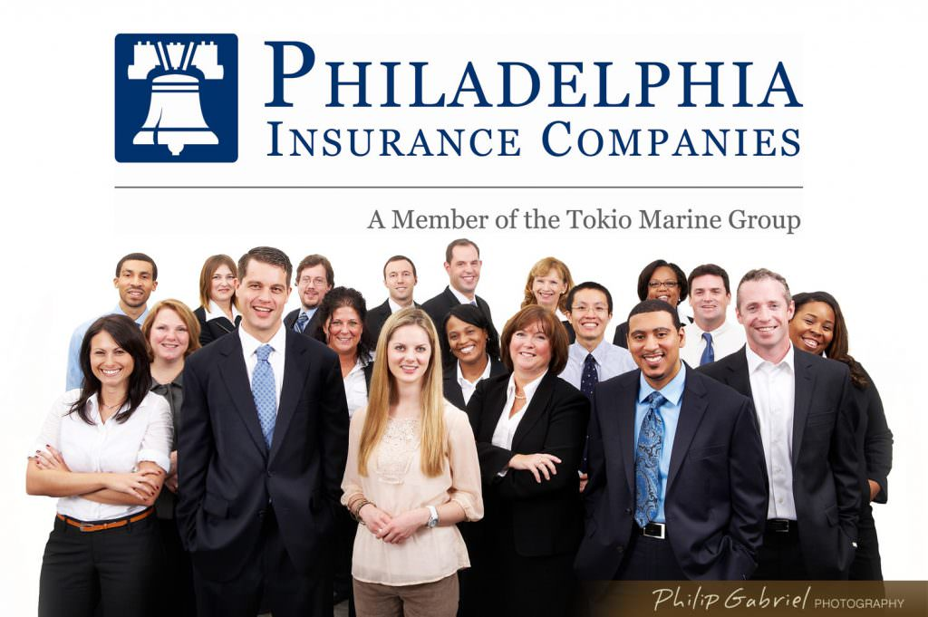 Group Headshot on white Philadelphia insurance Companies Photographed by Philip Gabriel Photography