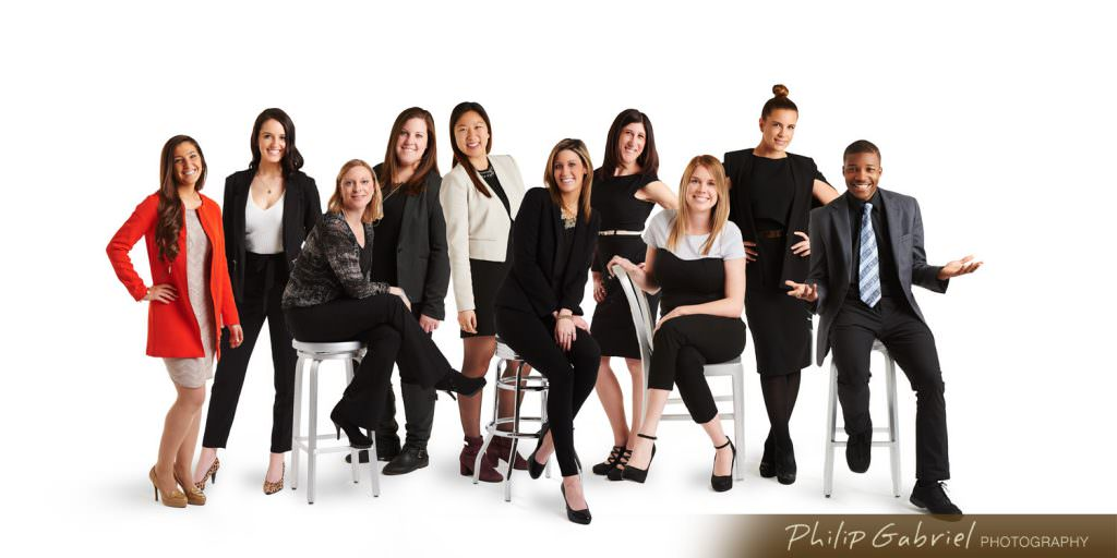 Group Headshot in studio on white backdrop Photographed by Philip Gabriel Photography