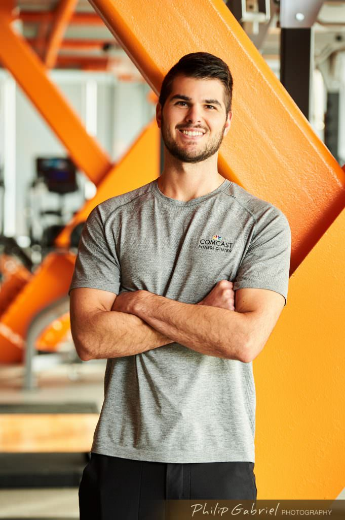 Headshot Comcast Fitness Center trainer Photographed by Philip Gabriel Photography