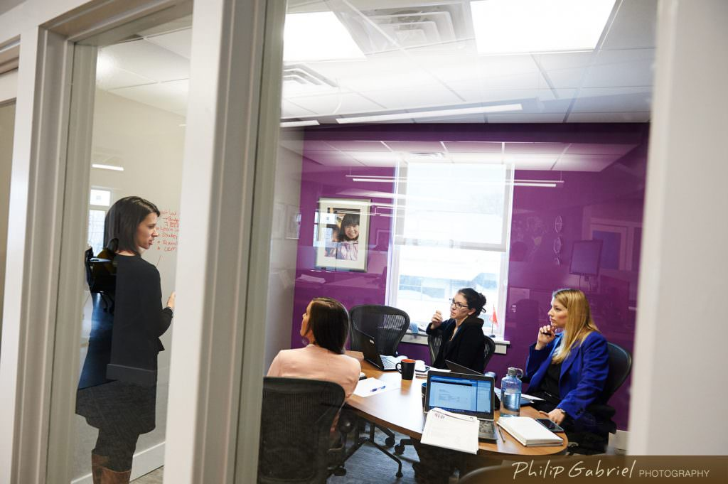 Corporate meeting space office work purple room Photographed by Philip Gabriel Photography