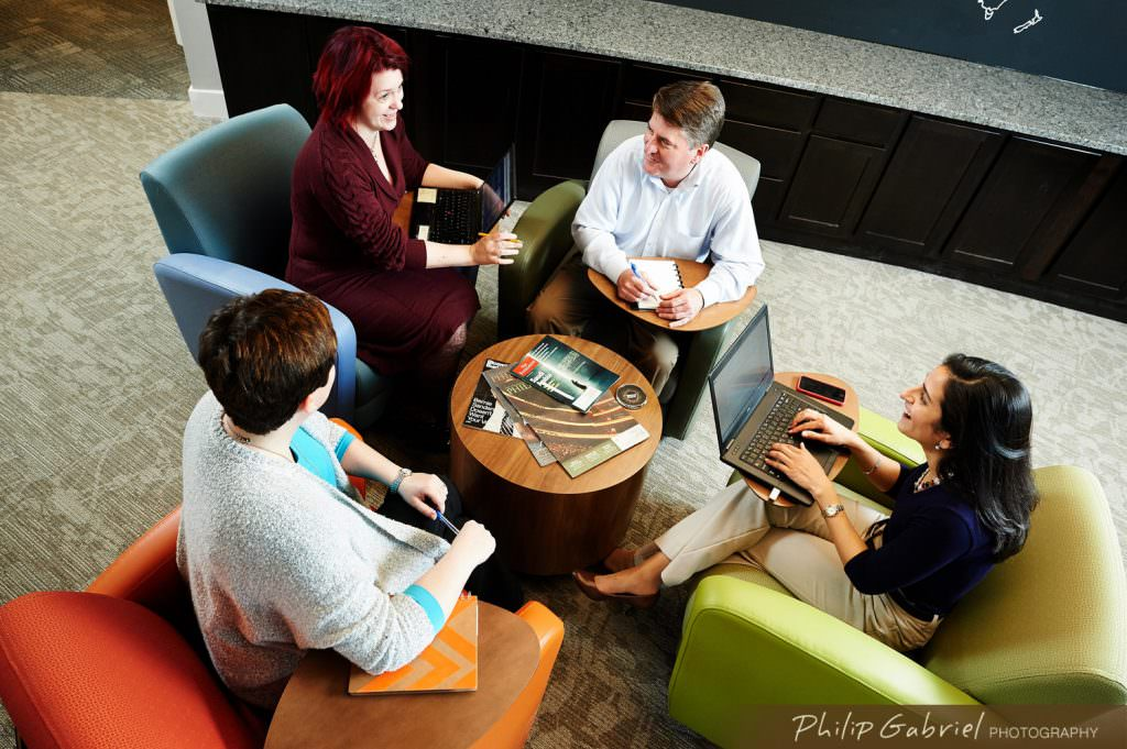 Corporate office meeting space indoors casual Photographed by Philip Gabriel Photography