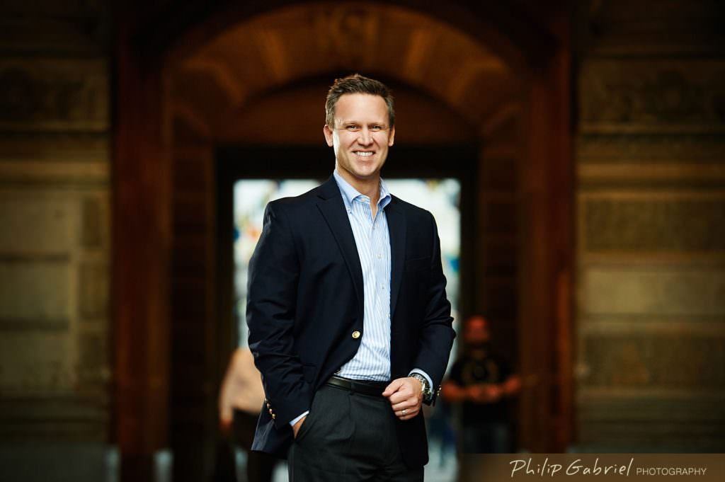 Corporate Headshot outdoor city hall philadelphia man Photographed by Philip Gabriel Photography