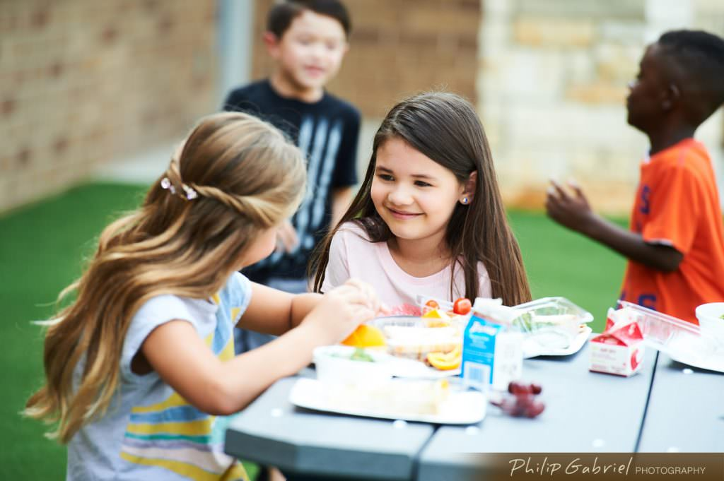 Lifestyle K-12 school dining outdoors Photographed by Philip Gabriel Photography
