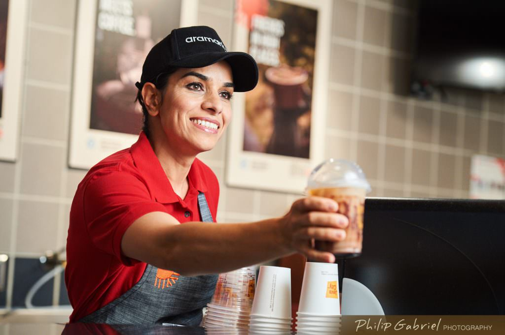 Lifestyle Aramark Java City Coffee Barista Photographed by Philip Gabriel Photography