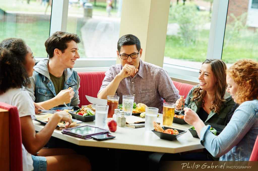 Lifestyle Campus Dining indoors college university Photographed by Philip Gabriel Photography