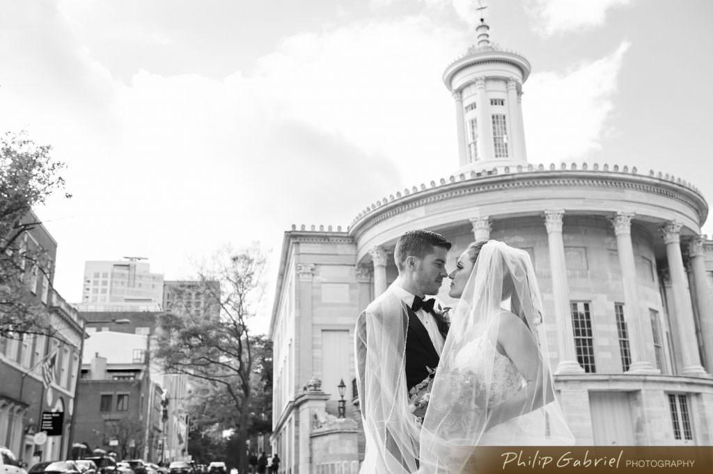 Wedding veil photography at Merchants Exchange in Old City Philadelphia